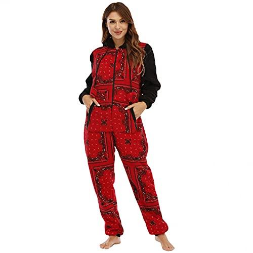 Women Fleece Onesie Pajamas Sleepwear Christmas Zip Up Hooded Jumpsuit Rompers Cosplay Costume Plush Loungewear(Red,XXL
