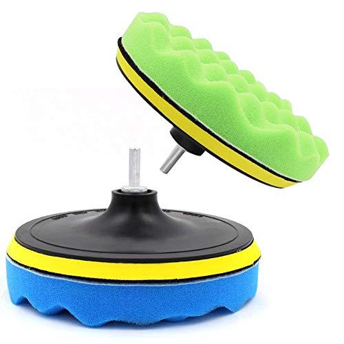 Yosoo 7Pcs 5/6/7' Sponge Polishing Waxing Buffing Pads Kit Set Compound Auto Car Polisher + M14 Drill Adapter Kit (7')