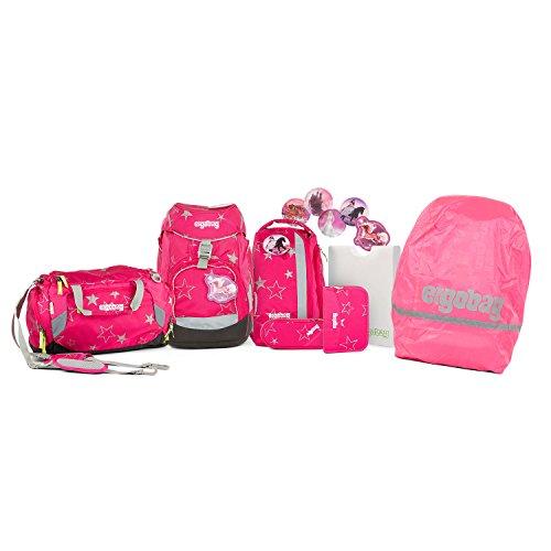 Ergobag - Schulranzen Set 8 tlg. PACK inkl. Sporttasche und Regenhülle Pink - Auswahl (CinBärella)