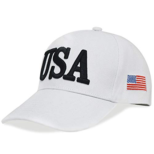 DISHIXIAO USA Baseball Cap Polo Style Adjustable Embroidered Dad Hat American Flag for Men and Women White