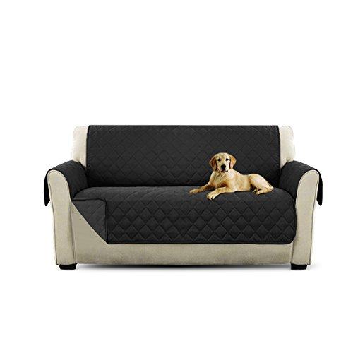 PETCUTE Lujo Cubre para Silla Fundas de Sofa Protector de sofá o sillón, Dos o Tres plazas Negro 2 plazas