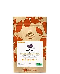 Baya De Acaí En Polvo Orgánico - Baya de Acai Crudo - 100% Baya de Acai Pura - Bayas de Acai de Brasil | 50g de Baya de Acai | Sol Semilla