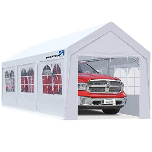 PEAKTOP OUTDOOR 10 x 20 ft Upgraded Heavy Duty Carport Car Canopy with Removable Sidewalls, Portable Garage Tent Boat Shelter with Reinforced Triangular Beams and 4 Weight Bags,White
