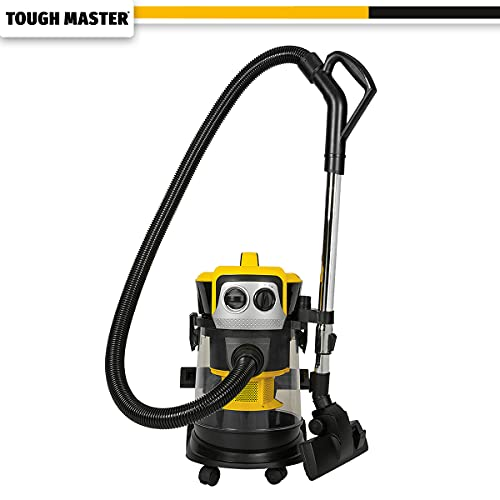 TOUGH MASTER Wet & Dry Vacuum Cleaner 15L Workshop Dust Extractor for Multi-Surfaces with HEPA Filter 1000W Power Includes Blower Function & Automatically Prevents Clogging