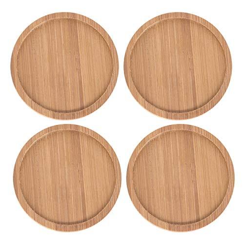 4 bandejas redondas de bambú para maceta de 10,5 cm para interior y exterior, jardín, oficina, suculentas, macetas, flores, bonsái