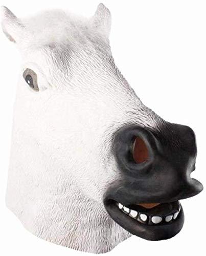 NIUMM Halloween Maske Pferdemaske Pferdekopfmaske Halloween-Maske Latex Tiermaske Pferdekopf Pferdekostüm-Weiß