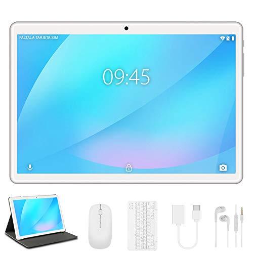 Tablet 10 Pollici YESTEL Android Originale 4GB RAM 64GB ROM +Espanso 128GB con Schermo IPS HD Quad Core Tablets Dual LTE SIM con WIFI | 8000mAh | Bluetooth | GPS | con Tastiera e Mouse – Argento