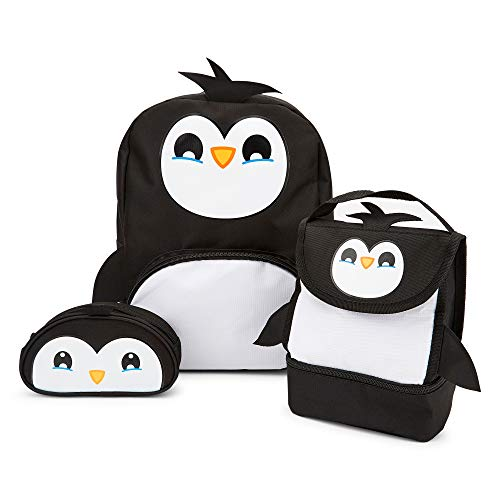 Zappi Co Childrens Boys Girls Animal School Nursery Backpack, Lunch Bag & Pencil Case Set (Penguin), LUGBPSBABPENTGS