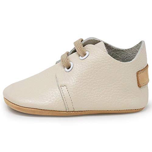 Ella Bonna Oxford Baby Boy Shoes, borracha e sola macia, sapatos de couro para bebê, sapatos para bebês e meninas pequenas, recém-nascidos, mini crianças, mocassins para bebês, Cream With Leather Sole, 3 Infant