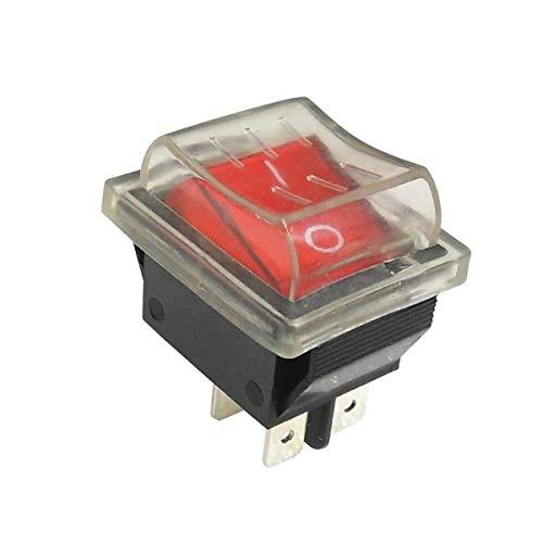 WITTKOWARE Kontroll-Wippenschalter mit Schutzkappe, 30x22mm, 2-polig, EIN/AUS, I/O, rot