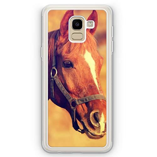 Pferd Foto - Frosted Silikon Hülle für Samsung Galaxy J6 (2018) - Motiv Design H& Tiere Süß Cool Lustig Witzig - Handyhülle Schutzhülle Cover Case