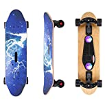 AODI Bluetooth Speaker Skateboard, 31'' Complete Skateboards Canadian Maple Cruiser with Colorful Flashing Wheels/Micro SD Card for Kids Boys Girls Youths Beginners Adults
