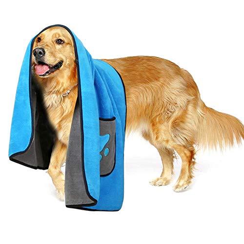 Zellar Haustier-Handtuch, Hundedecke, Mikrofaser-Hunde-Bademantel für Welpen und Katzen, schnelltrocknend, super weiches Badetuch für Haustiere, Hund und Katze (Blau)