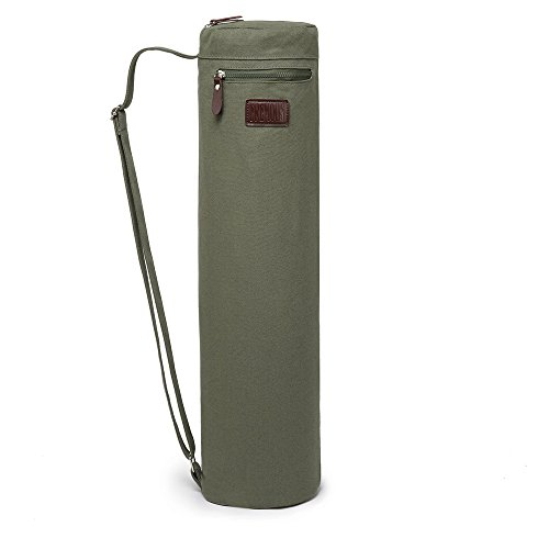 Fremous Yoga Mat Bag and Carriers for Women and Men - Double Storage Pocket - Easy Access Zipper - Adjustable Shoulder Strap and Handle (Army Green)