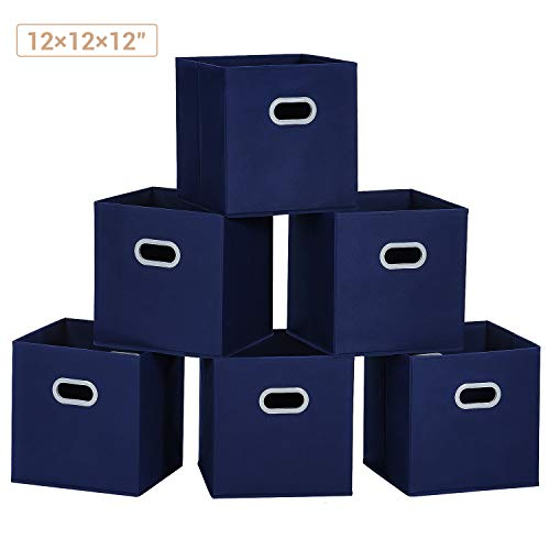 MaidMAX Cloth Storage Bins Cubes Baskets Containers with Dual Plastic Handles for Home Closet Bedroom Drawers Organizers, Flodable, Blue, Set of 6
