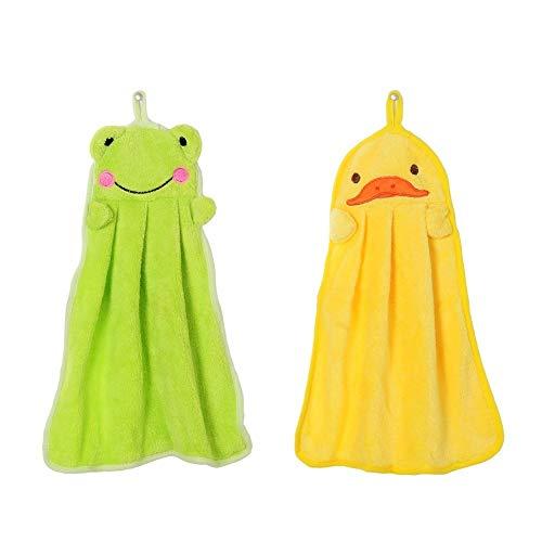 EQLEF Lovely Nursery Serviette de Toilette Soft Peluche Tissu Animal de Dessin animé Suspendue Wipe Serviette de Bain 2 pièces (Grenouille Verte et Canard Jaune)