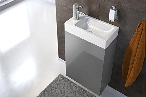 SAM Waschtisch Vega, Waschplatz grau Hochglanz, 40 x 22 cm, Waschbecken aus Kunststoff, Tür mit Push-Open-Funktion