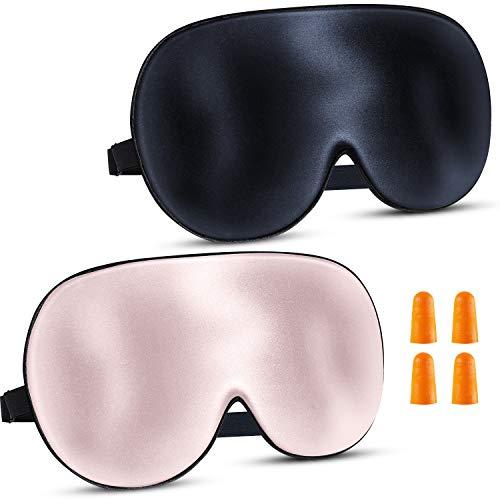 2 Pack of Augenmaske Schlafmaske Seide - Schlafmasken Damen und Herren Bequem Schlafmaske Verstellbarem Gummiband Sleep Mask mit Ohrstöpseln