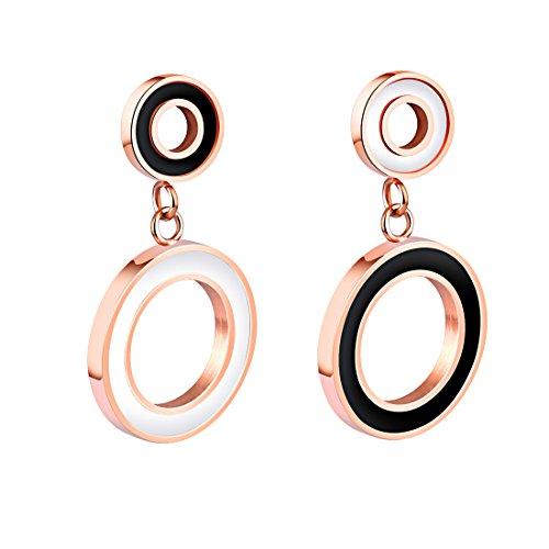 B.Z La Vie Pendientes de mujer de acero inoxidable con círculo dorado asimétrico estilo moderno