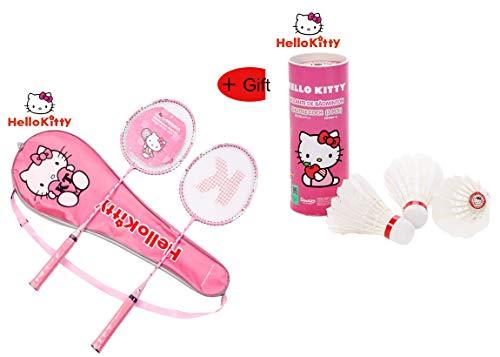 Janeyer-Fitness Hello Kitty - Juego de raquetas de bádminton y volante para niños, niña, Raqueta de bádminton + volante., 66cmx20cm/26x7.9'