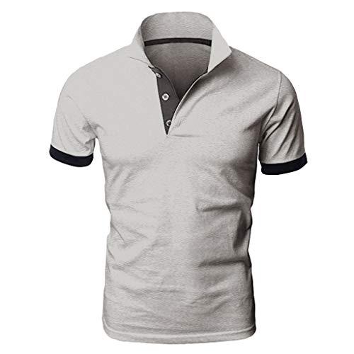 Yowablo Herren Poloshirt Polo Polohemd Kurzarmshirt Shirt Basic Mode Patchwork Shirt Double Color T-Shirts Top Blusen (XXL,Schwarz)
