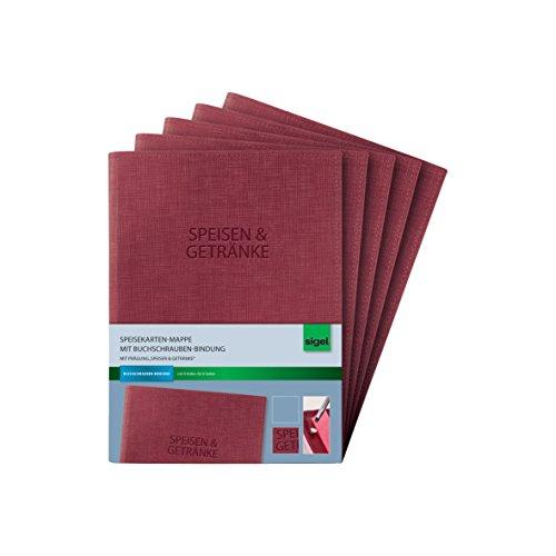 Cuaderno Sigel para carta de menús con tornillos de unión, tamaño A5, color rot/mit Aufdruck 5 unidades