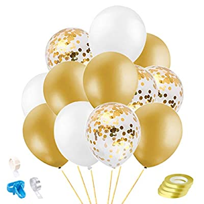 Rutien 67PCS Gold White Confetti Balloons with ...