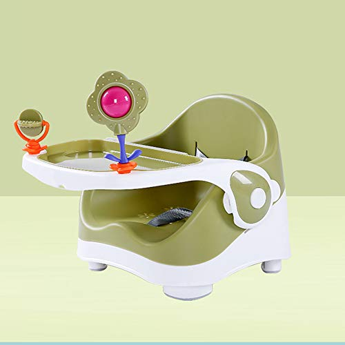 LU KU Easy Folding with Tray Portable Baby Chair Booster Seat, Adjustable Safety Harness Multicolor Optional, for Babies Aged 3-36 Months, Attach To Fast Table Chair for Home And Travel,Green