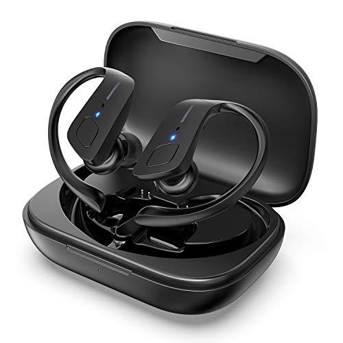 HolyHigh Auricolari Cuffie Sportive Senza Fili Auricolari Bluetooth 5.0 Impermeabile IPX5 35 Ore di Autonomia per Riproduzione in Ear