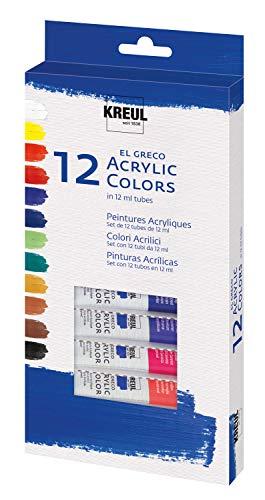 Kreul 28250 - El Greco Acrylfarben, hochpigmentierte Acrylfarbe in Studienqualität, buttrig vermalbar, für pastose Malerei, glänzend, 12 x 12 ml