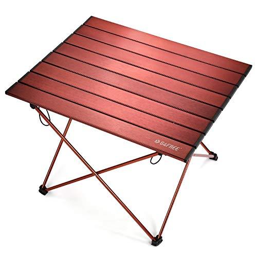G4Free Mesa de camping ligera y portátil de aluminio, mesa plegable compacta con bolsa de transporte para acampar al aire libre, senderismo, picnic, mochilero (grande, marrón)