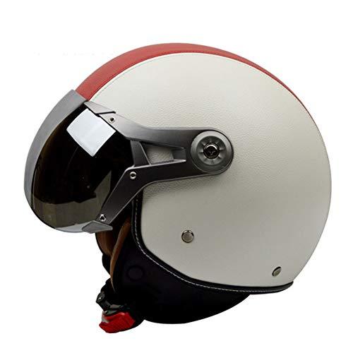 YSH Casco De La Motocicleta Harley Vintage Unisex Cara Abierta 3/4 Cascos...