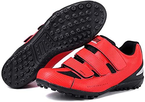 Wyukn, scarpe da ciclismo Mtb da uomo, donna, scarpe da bicicletta da corsa, mountain bike, scarpe professionali non bloccanti, Ultralight Athletic Racing Shoe,rosso-40EU
