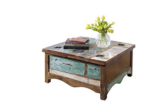 MASSIVMOEBEL24.DE Table Basse Coffre 90x90cm - Bois Massif recyclé Multicolore laqué - Inspiration Ethnique - Nature of Spirit #07