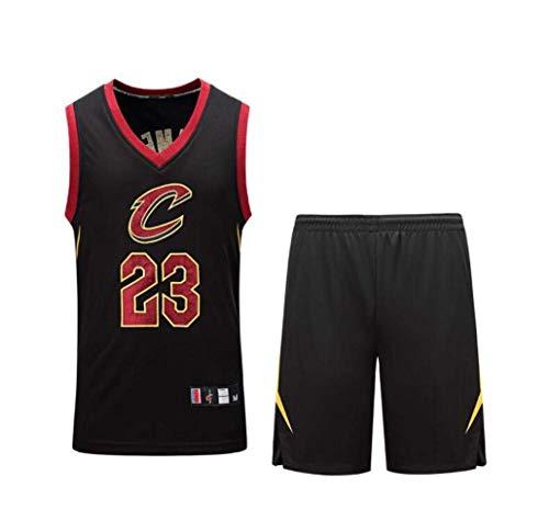 WXR Camiseta de Hombre Conjunto de Camisetas para Hombre Cavaliers No.23 Uniformes y Pantalones Cortos de Baloncesto James Camiseta de Baloncesto Traje Corto (Color : Black, Size : XXXL)