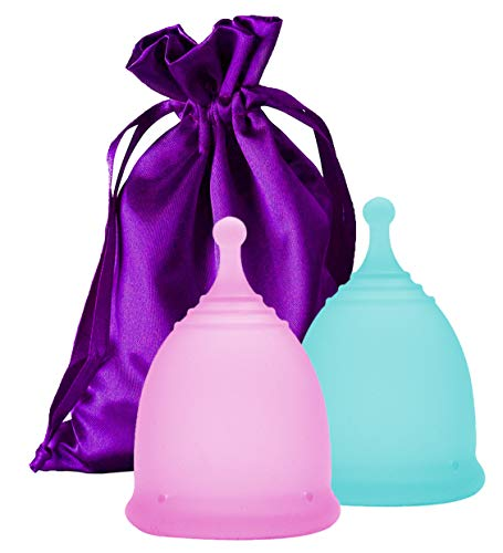 EcoBlossom Menstrual Cups - Set of 2 Reusable Period Cups - Premium Design with Soft, Flexible,...