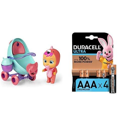 IMC Toys - Bebés Llorones Lágrimas Mágicas, Coche de Fancy + Duracell Ultra AAA con Powerchek, Pilas Alcalinas, Paquete de 4