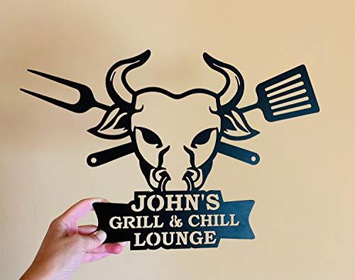 Personalisiertes Metall-Grillschild für Veranda, Grill & Chill Lounge, individuelles Namensschild für Grill, Outdoor, Vater, Grill, Wandkunst, Schild, Grillvater, Stierkopf, schwarz, 35,6 cm