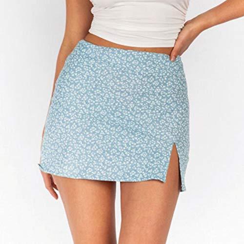 minjiSF Minifalda sexy para mujer, con estampado de cintura alta, corte en A, elegante, irregular, dividida azul S