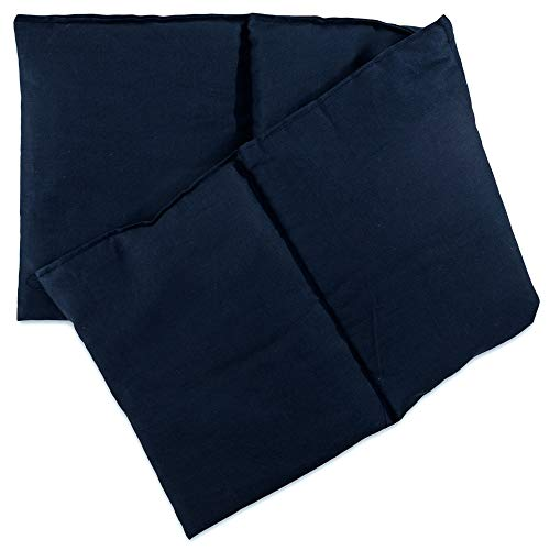 Heat Compress Pillow - Hot & Cold - Microwave, Oven, Freezer (Grape Seeds Cushion, Dark Blue, 4 Pockets Style 23.6 x 7.8 in)