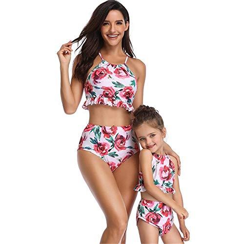 Rongjuyi zeemeermin Siamesisch ouders-kind-badpak bedrukken plissé bikini-badpak bikini moeder-dochter-badpak bedrukt eendelig