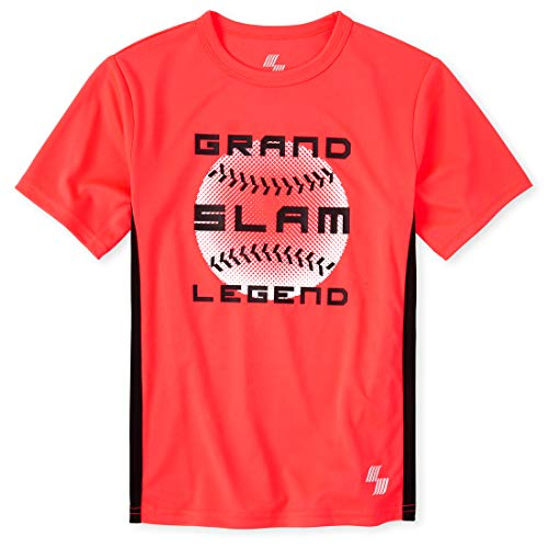 The Children's Place Boys' Mix and Match Sports Performance Top, Neon Fire Coral, S (5/6)