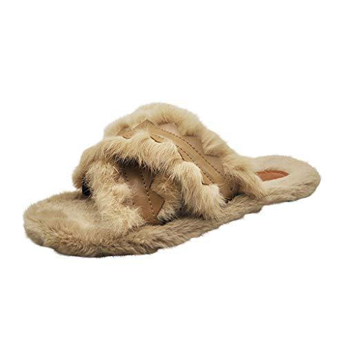 LSAltd Frauen beiläufiger weicher Faux-Pelz halten warmes zuhause Fußboden-Schlafzimmer beschuht Querband-Bequeme Plüsch-Pantoffel