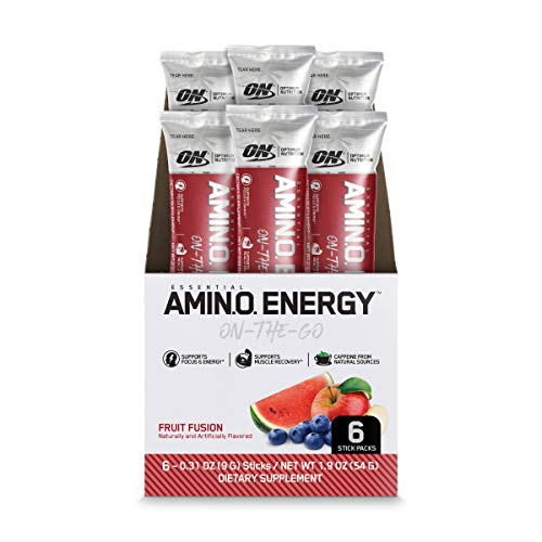 Optimum Nutrition Amino Energy - Pre Workout with Green Tea, BCAA, Amino Acids, Keto Friendly, Green Coffee Extract, Energy Powder - Fruit Fusion, 6 Count