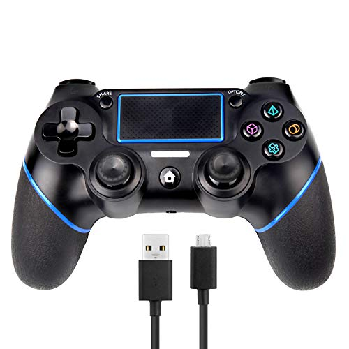 PS4 Controller Sades Wireless Controller for Playstation 4 with Dual Vibration, Include USB Wire