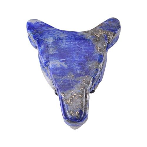 Uxsiya Collar de Adorno de Lobo, Colgante de Estatua de Cabeza de Lobo de Piedra de lapislázuli Natural con Tallado a Mano para Adorno de joyería para Regalo