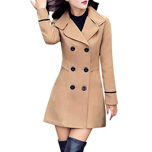 Damen Zweireiher Wollmantel Elegante Arbeits Anzug Jacke FRAUIT Frauen Knopf Stehkragen Einfarbig Zwei Taschen Elegant und Modisch Schlack Trenchcoat Mantel Wintermantel Outwear (S, Khaki)