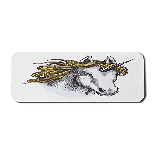 Einhorn-Computer-Mauspad, magisches Tierporträt der mythologischen Kreatur mit Horn, rechteckiges rutschfestes Gummi-Mauspad Großer hellgrauer Senf