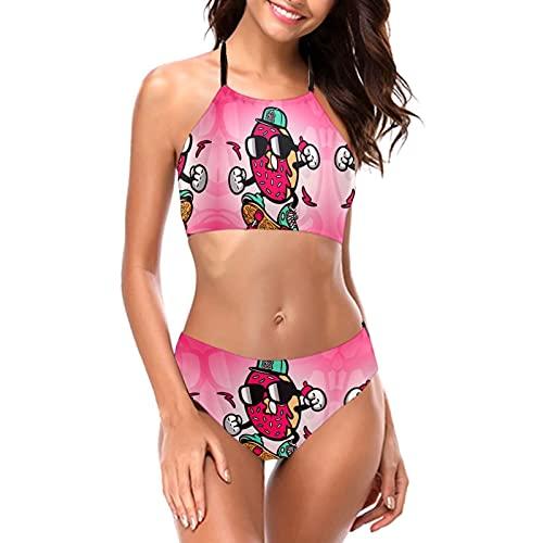 Linda Dibujos Animados Donut con Gafas de Sol Bikini Halter Trajes De Baño Cuello Redondo Mujeres Halter Bikini Set Beach Bikini
