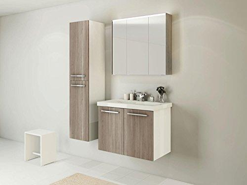 Wastafelonderkast Acura - onderkast 80 cm breed badmeubel badkamermeubel wastafel onderkast badmeubel hoge kast spiegelkast eiken